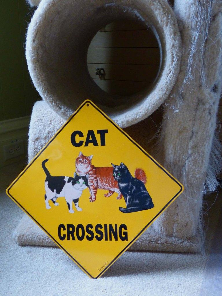 Cat crossing sign